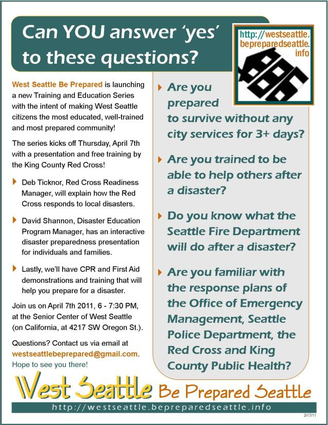 West Seattle Be Prepared 2011 Training & Education series informational flyer