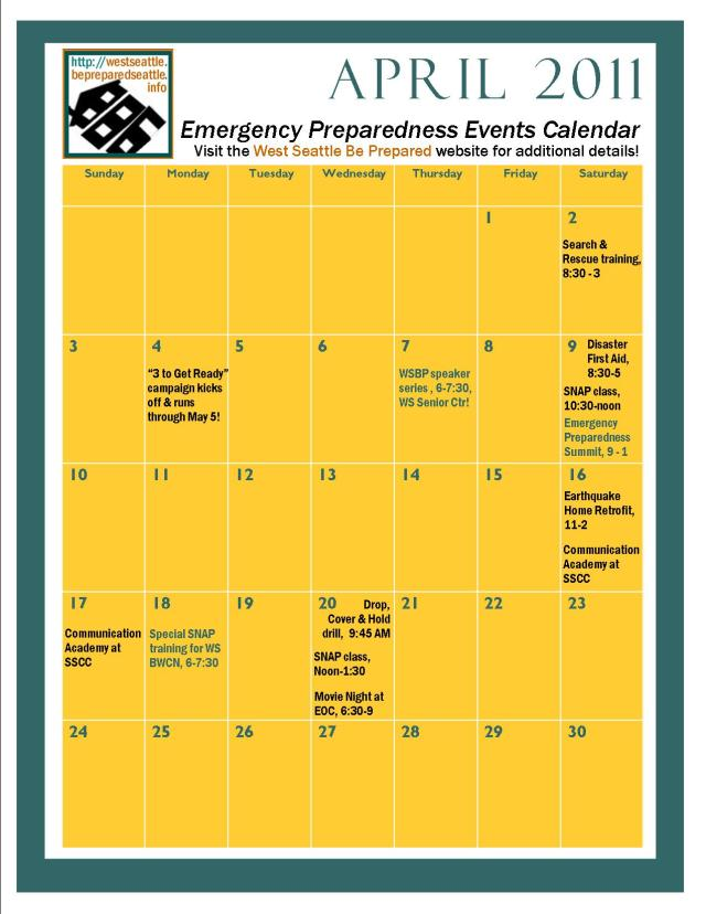 April 2011 preparedness event calendar