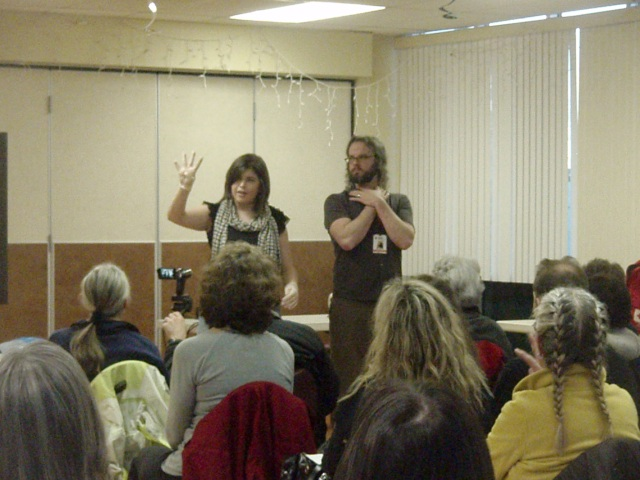 Sarah Rothman and David Shannon demonstrate how to help someone who is choking