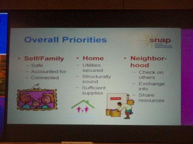 Priorities slide, Community Preparedness Summit, April 2011