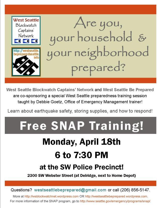 SNAP neighborhood emergency preparedness training flyer