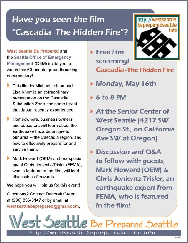 WSBP Speaker Series flyer for Cascadia - The Hidden Fire