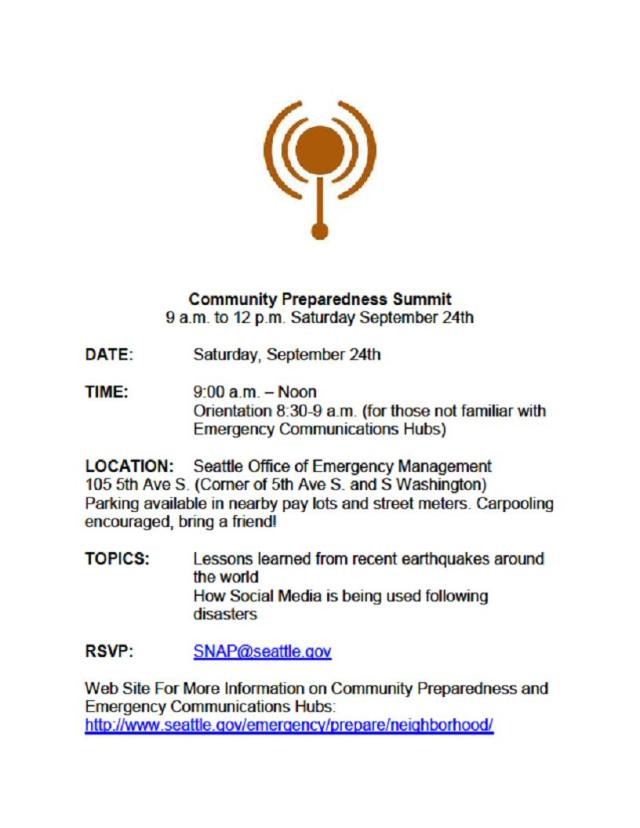 Community Preparedness Summit flyer