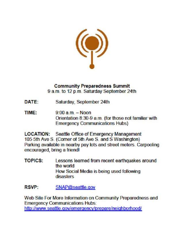 Community Preparedness Summit flyer