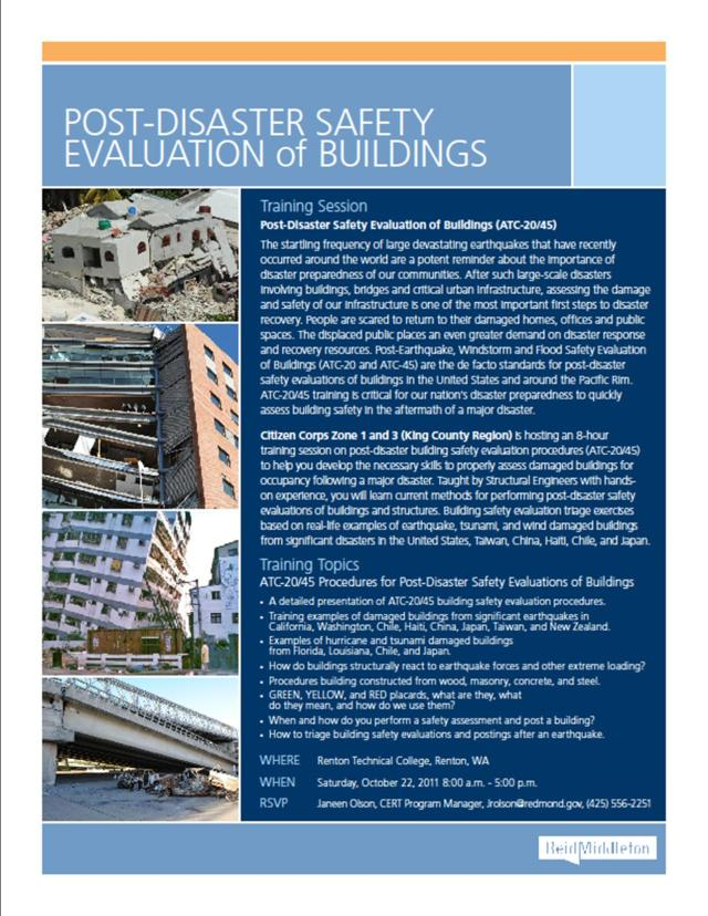 post-disaster building evaluation course flyer, page 1 of 2