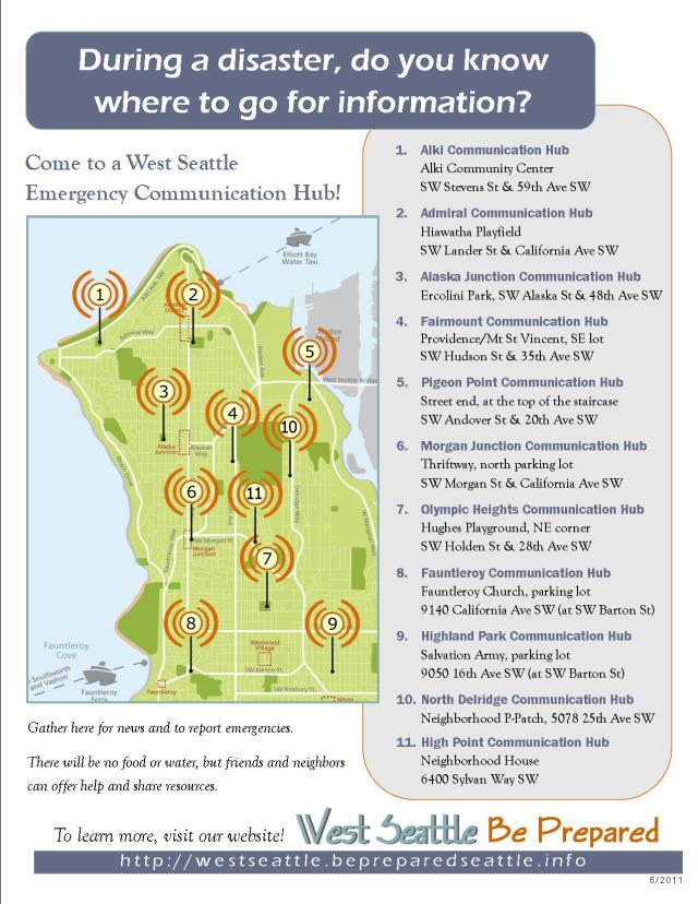 West Seattle Be Prepared - emergency communication hubs map