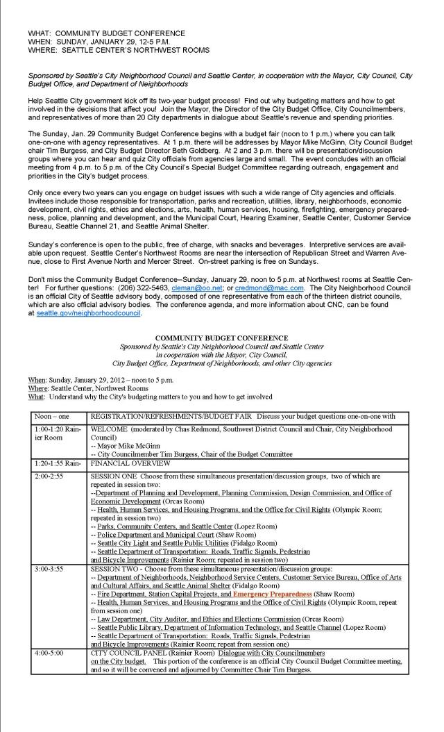 Seattle Community Budget Conference overview & agenda
