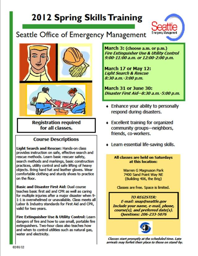 Seattle OEM Spring 2012 - Skills training flyer