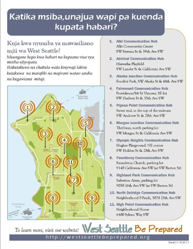 West Seattle Emergency Communication Hub map - Swahili