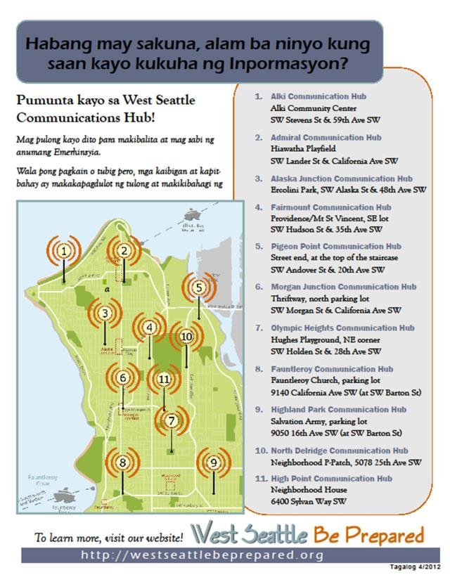 West Seattle Emergency Communication Hub map - Tagalog