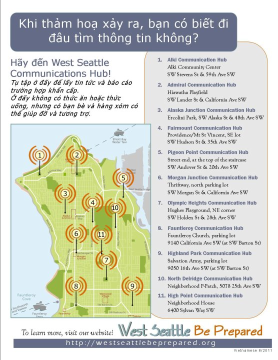 West Seattle Emergency Communication Hub map - Vietnamese