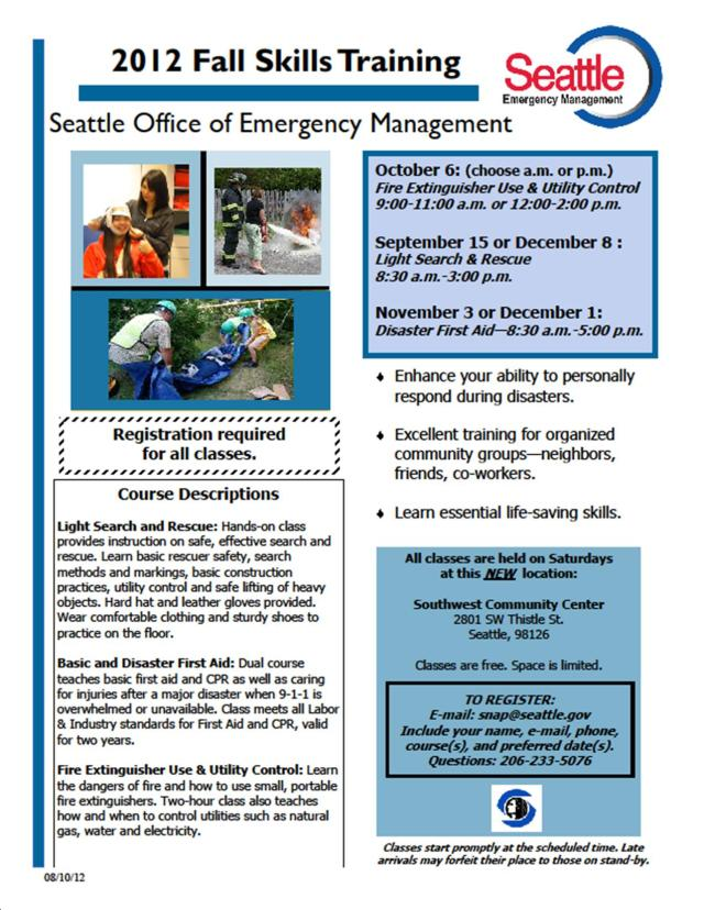 flyer describing SNAP 2012 fall skills training classes