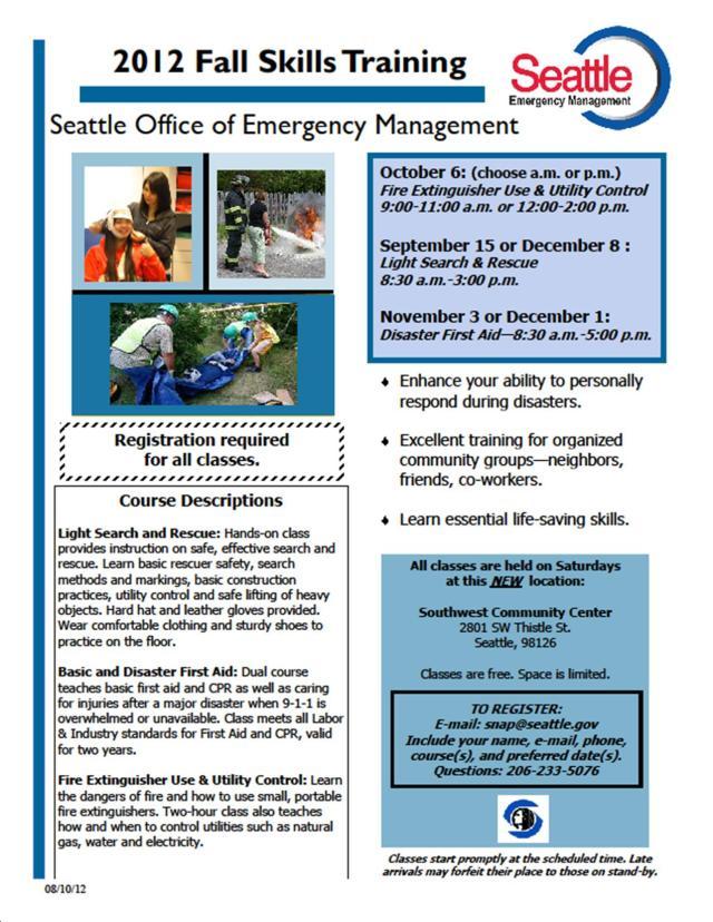 flyer describing SNAP 2012 fall skills training classes