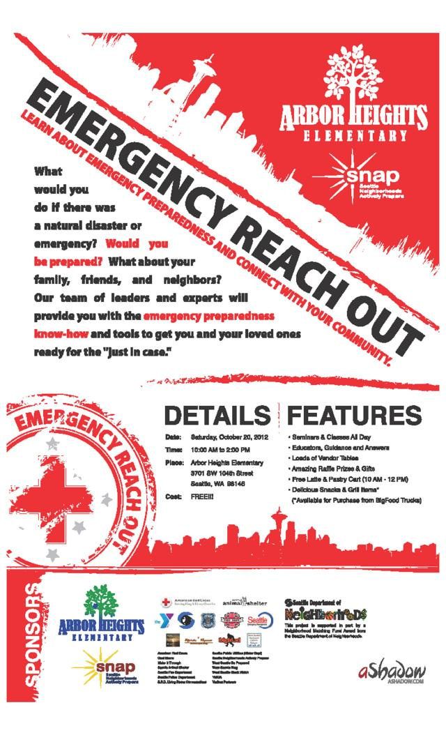 """Arbor Heights Elementary """"Emergency Reach Out"""" 2012 event flyer"""