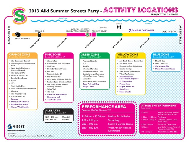 Alki Summer Streets 2013 - location flyer
