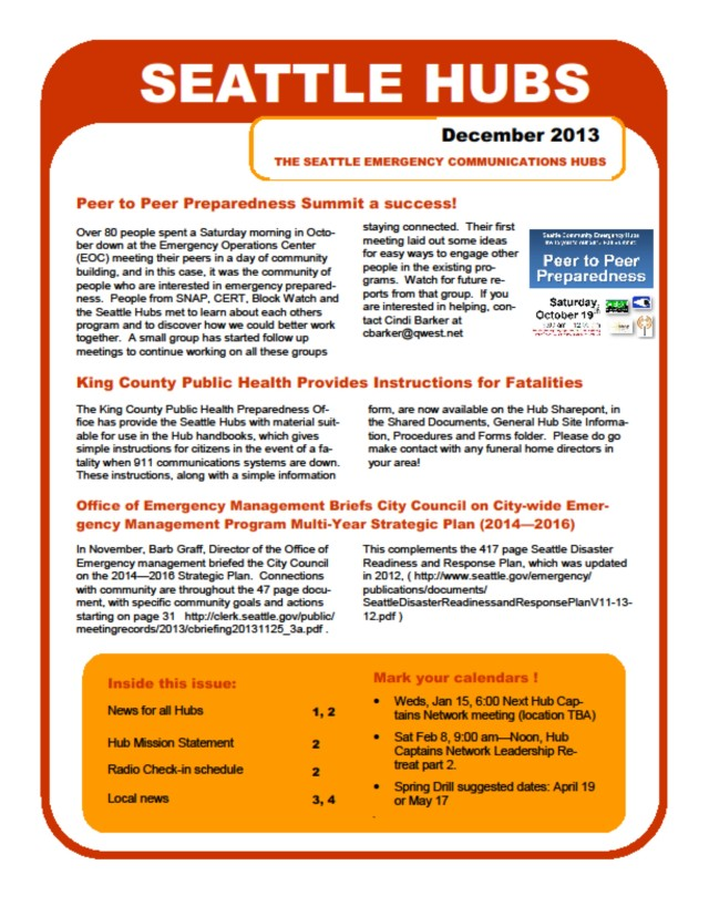 Hub newsletter, page 1 of 4