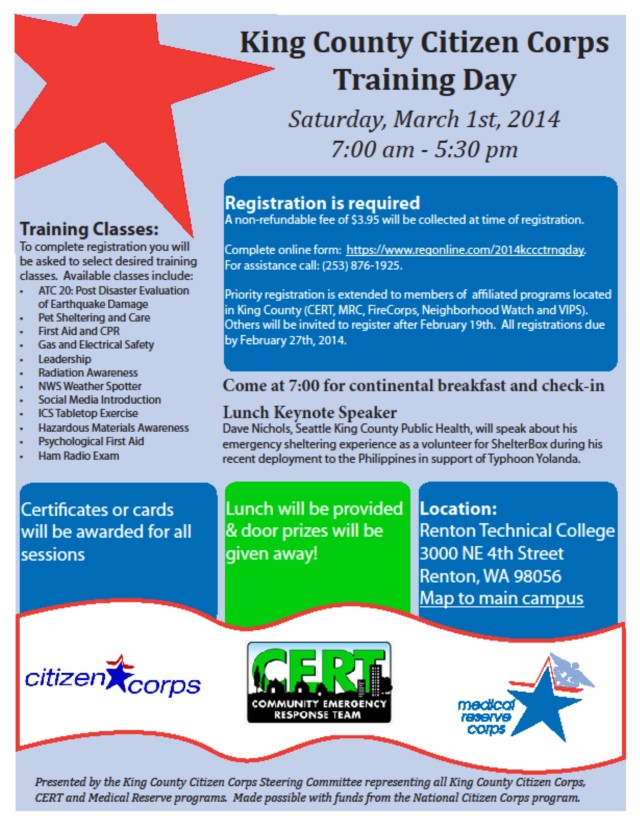 "Flyer for King County Citizen Corps ""Day of Training"" on March 1st, 2014"