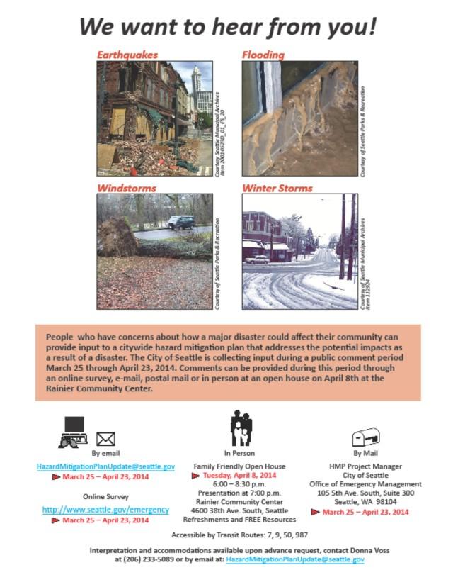 Seattle Hazard Mitigation Plan update informational flyer from Seattle OEM