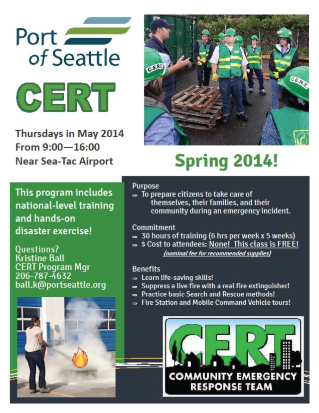 SeaTac CERT training flyer, May 2014