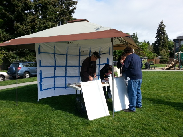 Message management tent; this is where hub staff organize all incoming information with the goal of matching resources to needs.