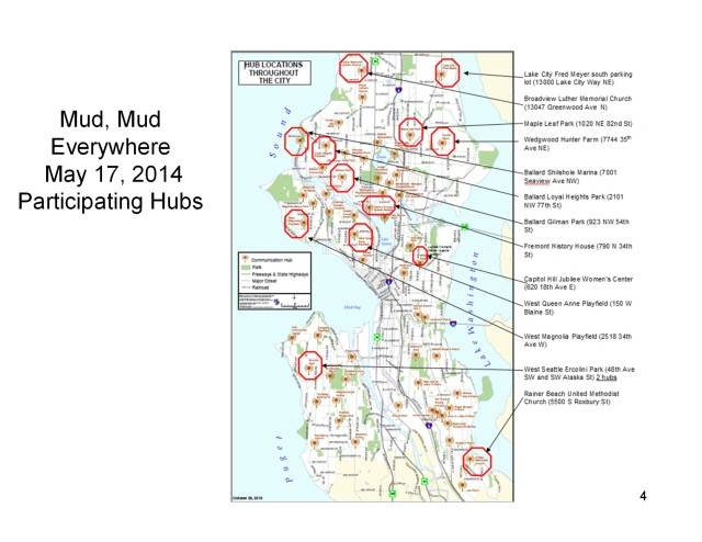 Map of Seattle hubs that will participate in the citywide drill on May 17th