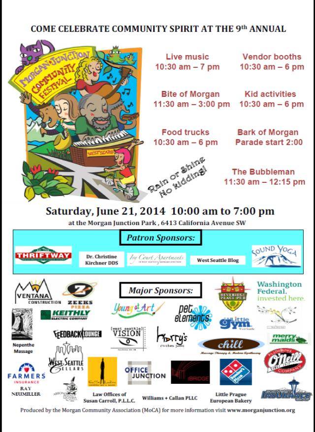 Morgan Junction Fest 2014 flyer