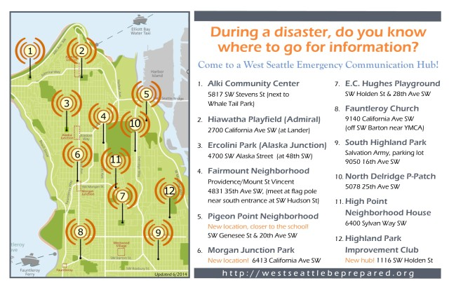 Updated map of the West Seattle Emergency Communication Hub locations