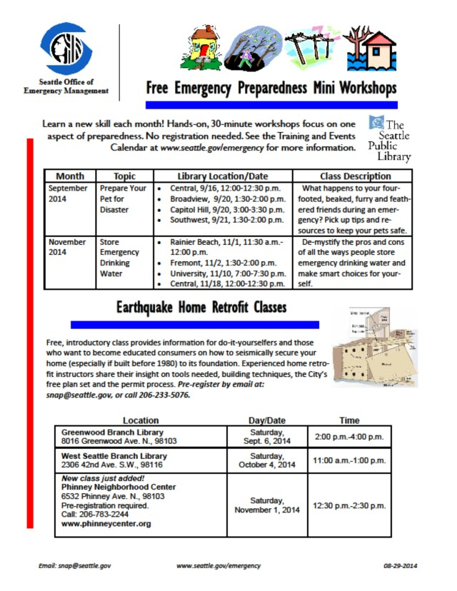 Seattle Office of Emergency & Management  schedule of free classes workshops