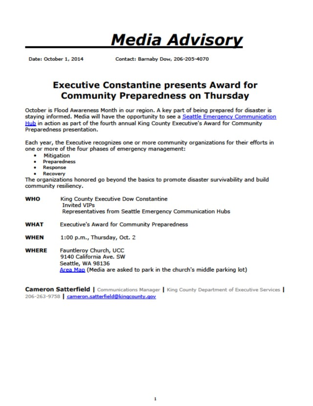 Press release about the King County Executive's award for Community Preparedness