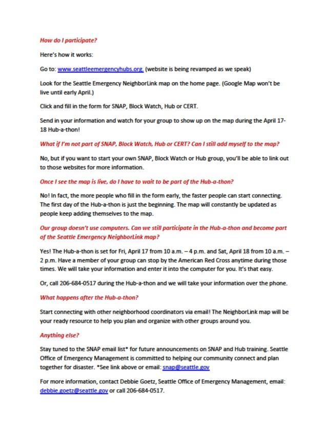 Hub-a-thon FAQ, page 2 of 2