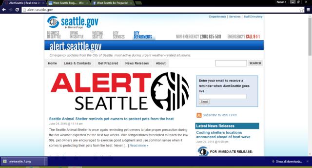 screenshot of new AlertSeattle site