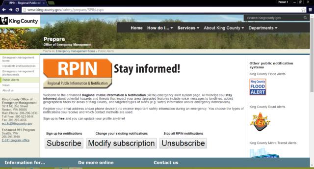 Screenshot of RPIN website