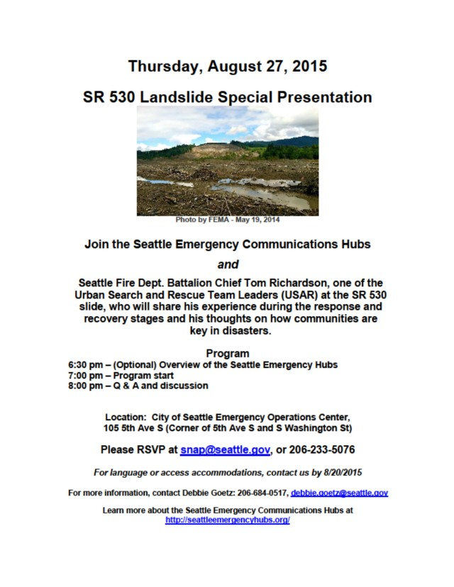 flyer for SR 530 Oso Landslide presentation