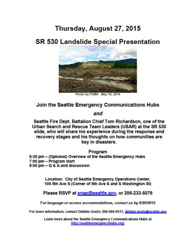 flyer for SR 530 Oso Landslide presentation