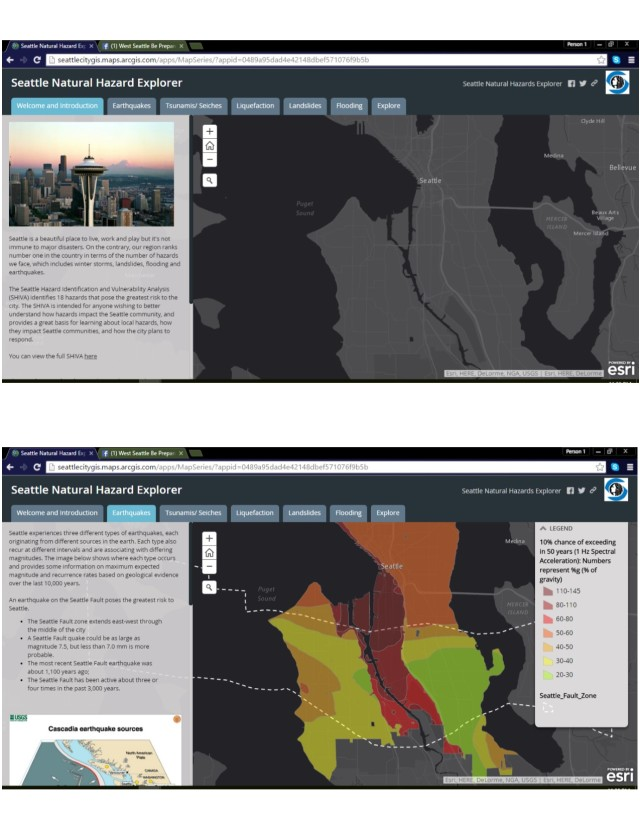 Screenshots of new Seattle Natural Hazard Explorer mapping tool