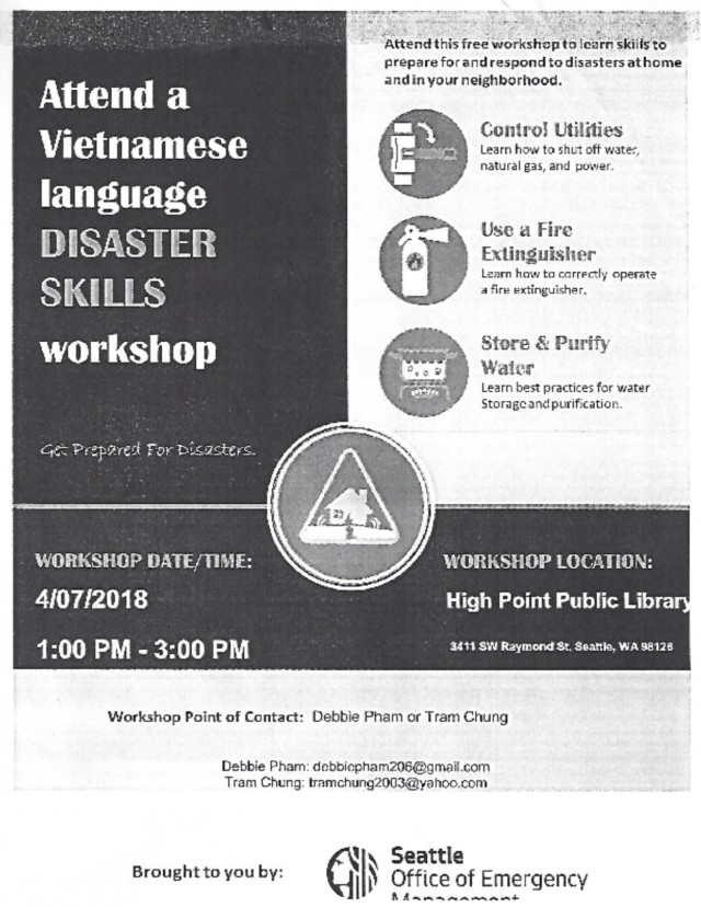 Vietnamese Language Disaster Skills Workshop flyer - English
