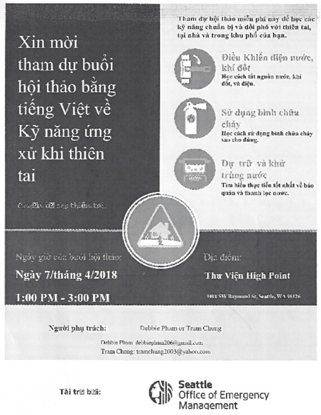 Vietnamese Language Disaster Skills Workshop flyer - Vietnamese